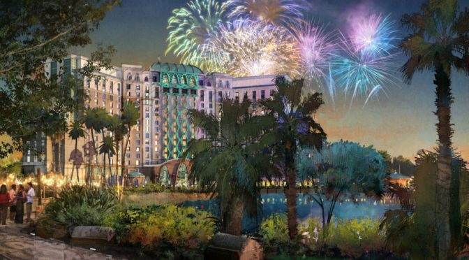 Work has begun on a new 15-story tower at Disney's Coronado Springs Resort at Walt Disney World Resort in Lake Buena Vista, Fla. that will bring an additional 500 rooms with suites and concierge level services. The new tower, overlooking Lago Dorado, the resort's centerpiece lake, will offer a rooftop dining experience with panoramic views of popular nighttime fireworks from nearby Walt Disney World theme parks. (Artist Rendering/Disney)